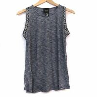 W5 ANTHROPOLOGIE Navy Blue Aztec Tribal Boho Stripe Embroidered Tank Top Small