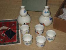 New ListingJapanese Fukagawa Porcelain Sake Set Gold Trim 2 Bottles & 5 Cups - Original Box
