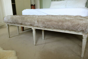 34: Faux fur covered bench stool 6 ft long