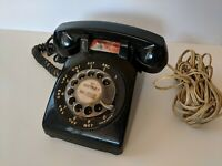 Vintage BLACK Rotary Dial Desk Telephone Phone by Bell System / Western Electric