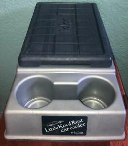 Vintage Igloo LITTLE KOOL REST Car CONSOLE Cooler GRAY & BLUE Drink Cup Holder