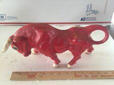 """Funky Vintage  Mid Century Red Ceramic Matador's Bull 11"""" Long"""