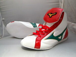 Mizuno Boxing Shoes Short White × Green × Red Made in JAPAN BTO Free shipping