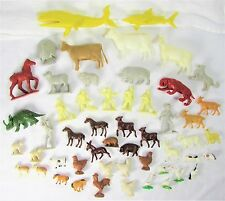 1960's Collection Of 52 Plastic Animals, Large Yellow Whale & Shark, Farmers