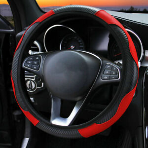 38CM Universal Car Steering Wheel Cover Protector Glove Carbon PU Leather Red