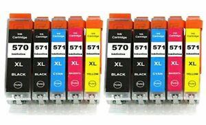 10 Ink Cartridges For Canon Pixma PGI570XL MG6851 MG6852 MG5700 TS5051 Printer