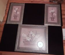 3 PC Home Interiors Flora Framed Picture Wall Art