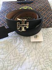 "TORY BURCH T LOGO Reversible Black & Bark Leather logo Belt 1"" Sz Small New"