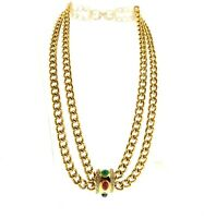Vintage Givenchy Crystal Pendant Necklace Gold Tone Double Chain