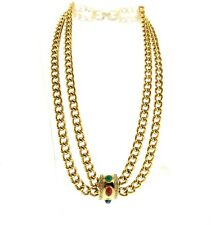 Gold Tone Double Chain Vintage Givenchy Crystal Pendant Necklace