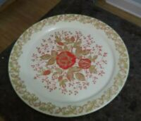 "Vintage Metal Large Round Cream / Gold Red Rose  Tray 19"" Hand Painted"