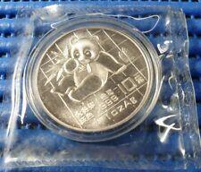 1989 China 10 Yuan Panda 1 oz 999 Fine Silver Coin with Folder