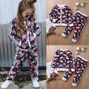 Girl Kids Clothes Print Zip Hoodie Tops Jacket Sportswear Vest+Pants Outfits Set