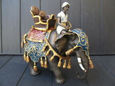 MAHOUT  ELEPHANT  LARGE  RARE  Statue  bronze  cold painted