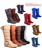 Women's Flat Zipper Buckle Slouchy Mid-Calf Knee High Boot Shoes Size 5 - 11 NEW