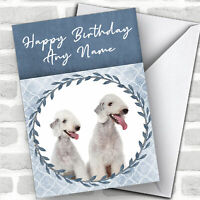 Bedlington Terrier Dog Blue Animal Customised Birthday Card