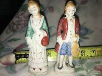 "VTG Victorian Couple Man Violin Woman Porcelain Figurine Statuette Japan 5"" tall"