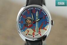 "RAKETA Yuri Gagarin ""Soviet SPACE"" Mechanical USSR Watch /Serviced q"