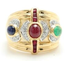 Natural Cabochon Ruby Emerald Sapphire and Diamonds in 14K Yellow Gold Ring