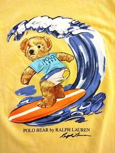 Polo Ralph Lauren 1992 Surfer Surfing Bear Tee T-Shirt Yellow Mens 2XL shirt new