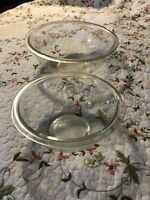 2 Corning Pyrex Colonial Mist round Clear Glass Nesting Mixing Serving Bowls lot