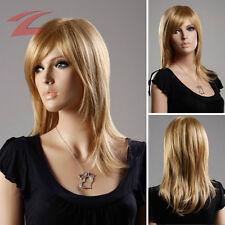 Blond Long Raide Femme Perruque 48cm Cheveux synthétiques Femmes Perruques Wig
