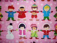 FQ IT'S A SMALL WORLD CHILDREN CHRISTMAS WINTER SNOWMAN FABRIC ALEXANDER HENRY