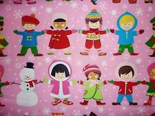 Clearance Fq It'S A Small World Children Christmas Winter Snowman Fabric Festive