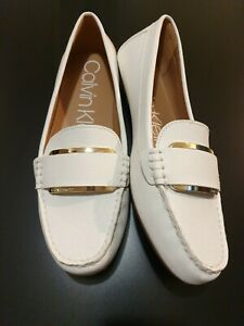 Calvin Klein Womens Flat Loafer Shoes White size UK 6 Brand New
