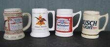 Lot of 4 Anheuser-Busch Budweiser Label & Logo Steins