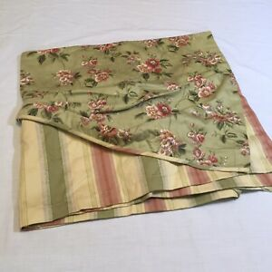 """Green Floral with Striped Underlay Waverly Valance 18"""" x 78"""" Polycotton"""