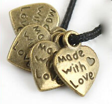 Heart Charm Made With Love 12mm Brass Jewelry Lot of 40