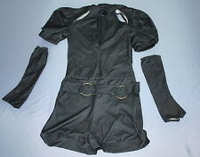KELLE Black Denim Biketard Dance Costume Women Small Adult S Keyhole with Gloves