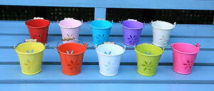 6CM METAL TIN BUCKET POT TEALIGHT HOLDER WEDDING FAVOURS 2 FOR £1.50 10 colours