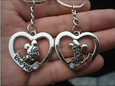 couple key chain couples Key Ring lovers heart and cartoon mickey mouse & Minnie