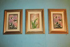 Vtg Set of 3 ITALY Butterflies/Flowers Wall Pictures by POSH