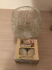 Yankee Candle Cracked Glass With Gold Glitter Dots Tea Votive Holder