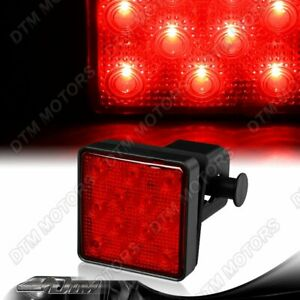 """2"""" Red Lens 12-LED Trailer Truck Hitch Towing Receiver Cover Brake Light Lamp"""