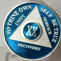 Blue Silver Plated 20 Year AA Chip Alcoholics Anonymous Medallion Coin Twenty XX