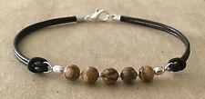 Silver Plated, Charm Friendship Bracelet Picture Jasper, Brown Leather Cord,