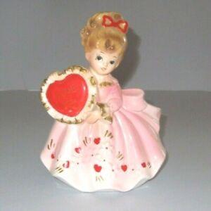 "Vintage Pink Dress Lady Valentine Planter 7"" Girl Made in Japan Paper Sticker"