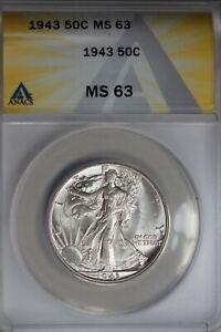 1943  .50   ANACS  MS 63  Walking Liberty, Half Dollar, Lady Liberty Half