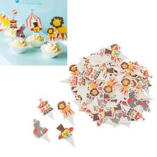 100pcs Animal Circus Cupcake Toppers Cake Kids Birthday Party Decoration Random