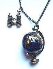 WORLD TRAVELER NECKLACE Explorer steampunk globe Earth geography pendant B3