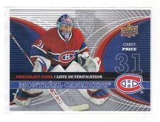 McDonalds, Upperdeck , 2008 , Checklist ,  Carey Price, Montreal Canadiens
