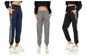 Women's Solid Fleece Lined Causal Activewear Jogger Sweatpants Gym Track Pants