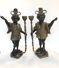 Pair Vintage Bronze Baroque Blackamoor Statue Lamp Candle Holders Candelabras