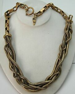 Vintage Yves Saint Laurent ? Necklace Brass Twisted Multi Snake & Bold Box Chain