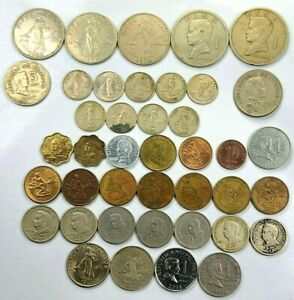 41pcs Circulated Philippines 1 5 Piso 1 5 10 25 50 Centavos Coins 1960-2014 N17A