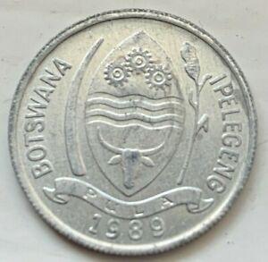 Botswana 1989 One 1 Thebe Circulated Coin, Turako (#D193)